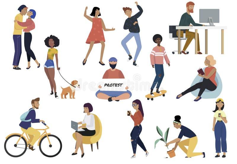 Le paquet de jeunes hommes et les femmes sont engagés dans divers activités et passe-temps - chiens de marche, bicyclette d'équit illustration de vecteur