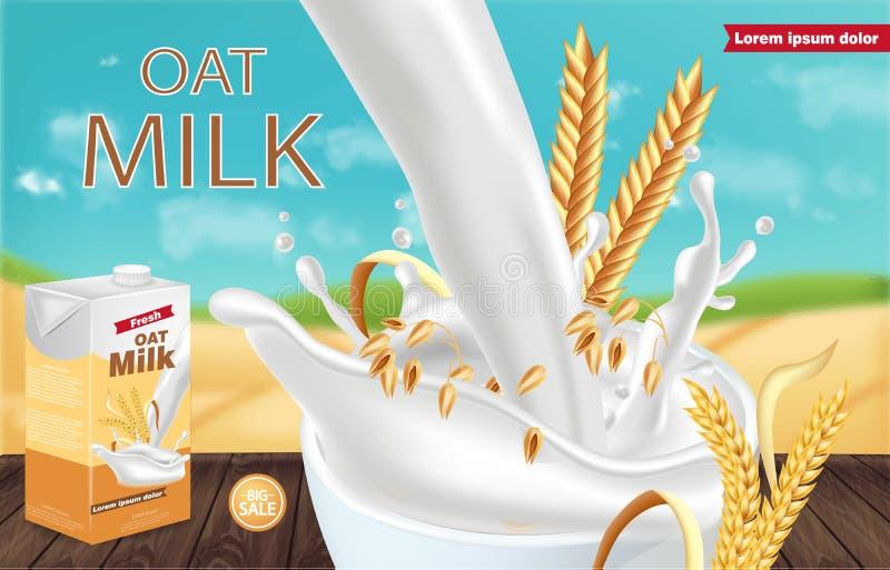 Le paquet de lait d'avoine dirigent r?aliste avec l'?claboussure moquerie de placement de produit  Conception de label Milieux de illustration stock