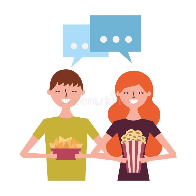 Le par med popcorn och nachos stock illustrationer
