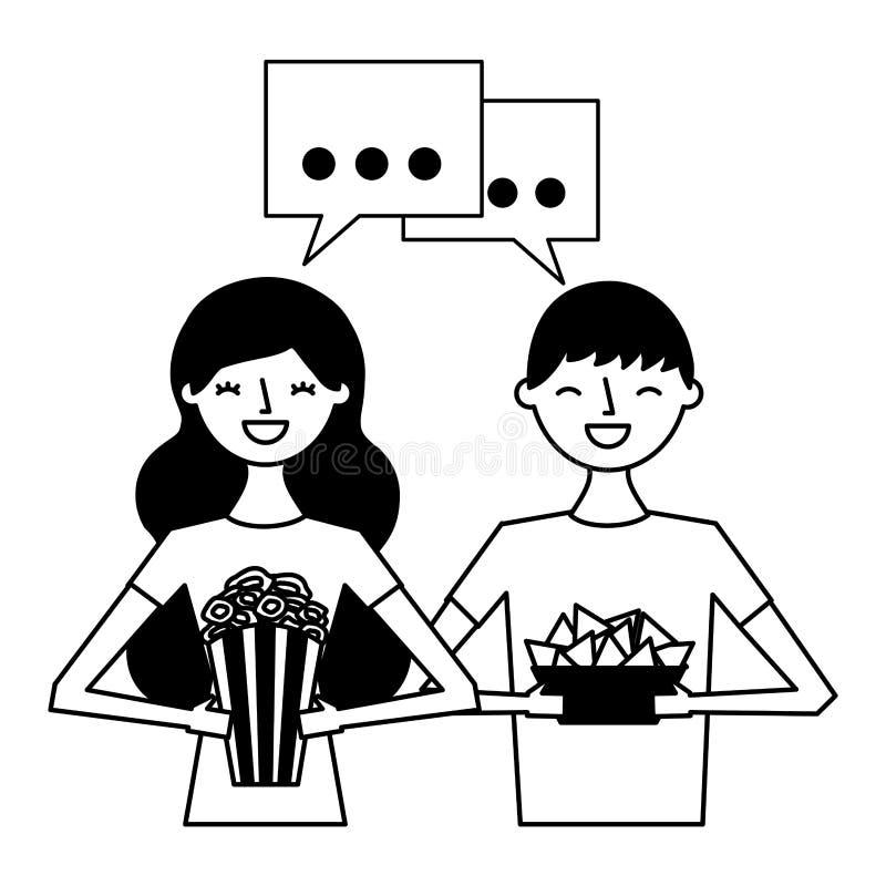 Le par med popcorn och nachos vektor illustrationer