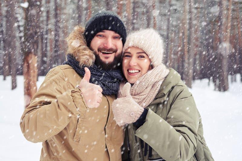 Le par som ok visar gest under snöfallet i mysten royaltyfria bilder