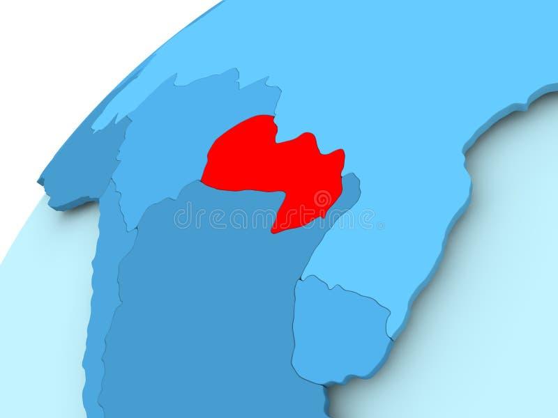 Le Paraguay sur le globe bleu illustration stock
