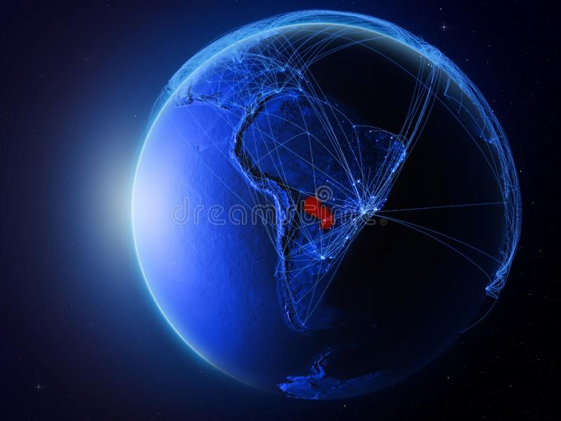 Le Paraguay sur la terre bleue avec le réseau illustration de vecteur