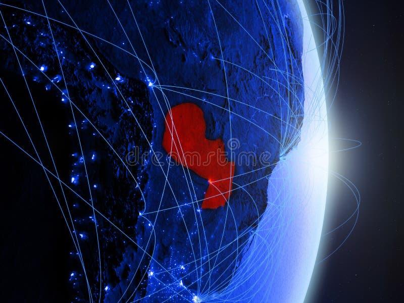 Le Paraguay sur la terre numérique bleue bleue photo libre de droits