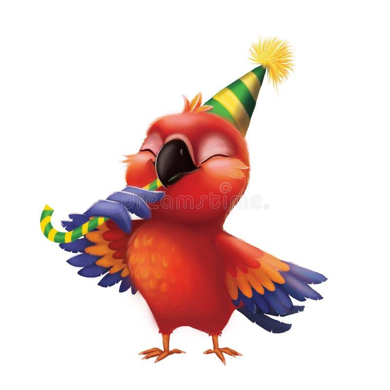 Le parakiterpapegojan som äter godisen i partihatten - lycklig födelsedag för ungar från gulligt Hand-dragit livligt tecknad film vektor illustrationer