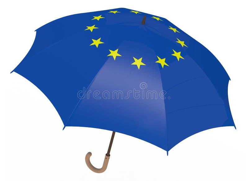Le parapluie avec le drapeau de l'Europe a isolé sur le blanc illustration stock
