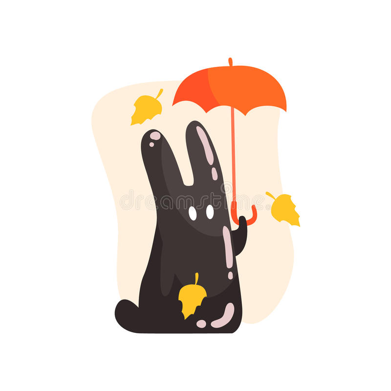 Le parapluie orange de Jelly Rabbit Shape Monster Holding de goudron noir sous le jaune en baisse part dehors en Autumn Season illustration stock