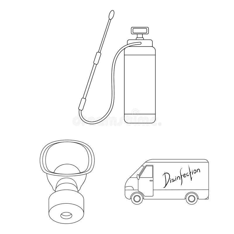 Le parasite, le poison, le personnel et l'équipement décrivent des icônes dans la collection d'ensemble pour la conception Symbol illustration libre de droits