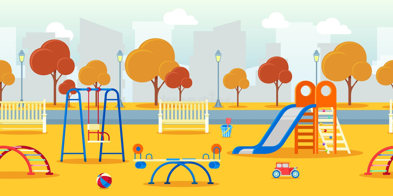 Le parc d'automne de ville avec le jardin d'enfants badine le terrain de jeu Fond sans joint de vecteur Illustration d'activités  illustration stock