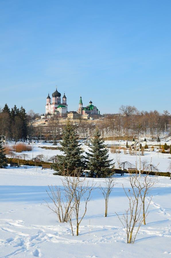 Le parc de Feofaniya en hiver images libres de droits