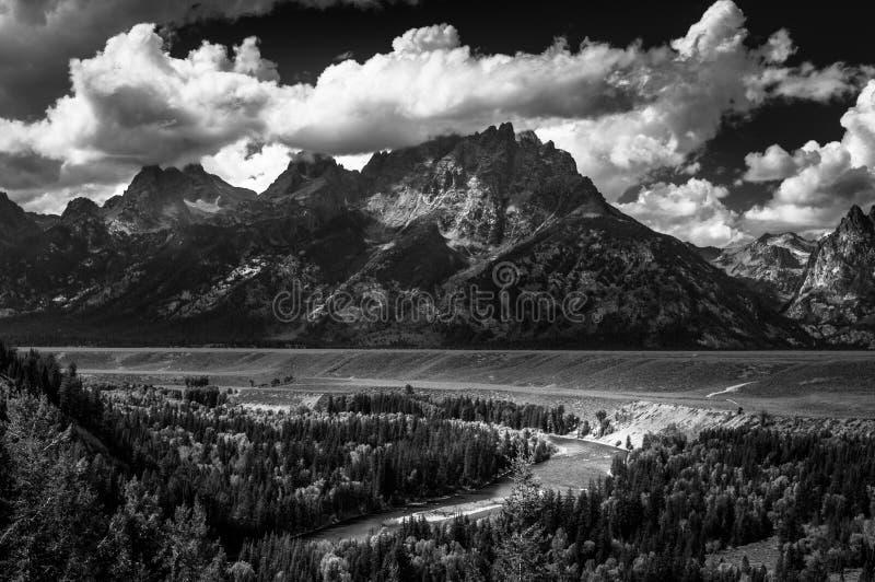 Le parc national grand la rivière Snake de Teton donnent sur photographie stock libre de droits