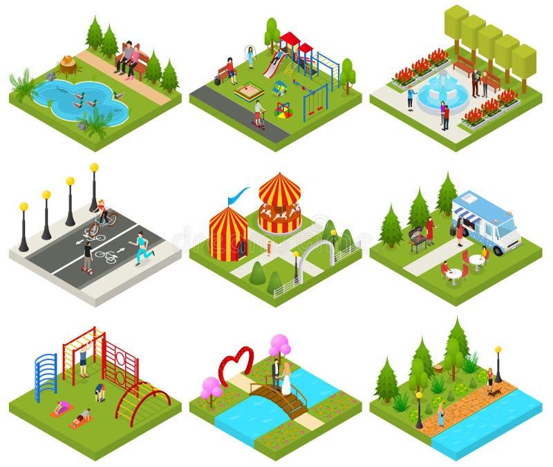 Le parc public de ville ou les objets carrés a placé la vue isométrique des icônes 3d Vecteur illustration stock