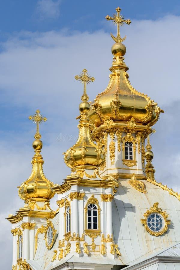 Le parc supérieur a été créé sous le tsar Peter I Il est situé dans Peterhof entre l'avenue de St Petersburg et le Peterhof grand photos stock
