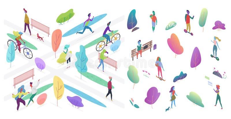 Le parc urbain avec des personnes dirigent l'illustration isométrique illustration libre de droits