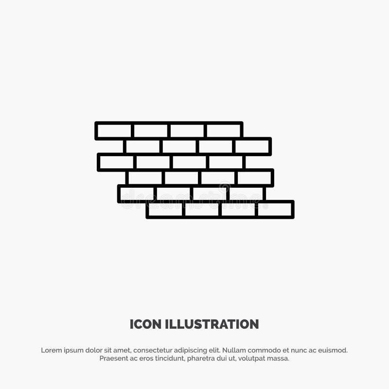 Le pare-feu, sécurité, mur, brique, briques rayent le vecteur d'icône illustration libre de droits