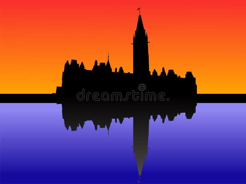 Le parlement canadien au coucher du soleil illustration de vecteur