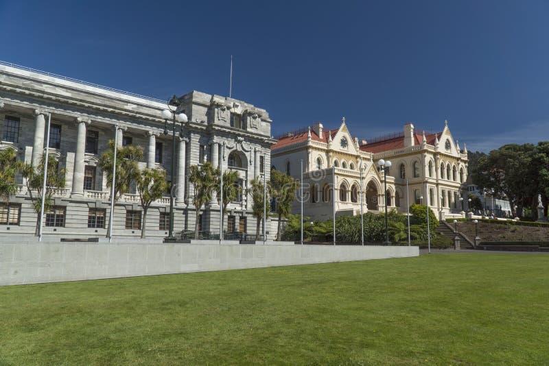 Le Parlement et bâtiments de la bibliothèque du Nouvelle-Zélande photographie stock libre de droits