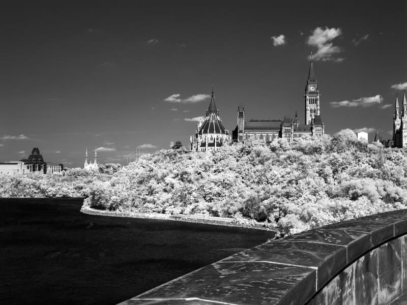 Le Parlement Hil sur le film infrarouge photographie stock