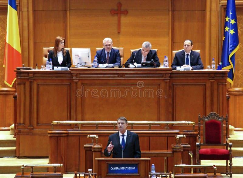 Le Parlement roumain - la parole de président - la politique photo stock