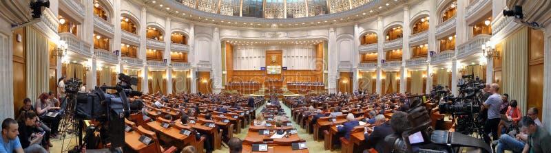 Le Parlement roumain - la parole de Viorica Dancila images stock