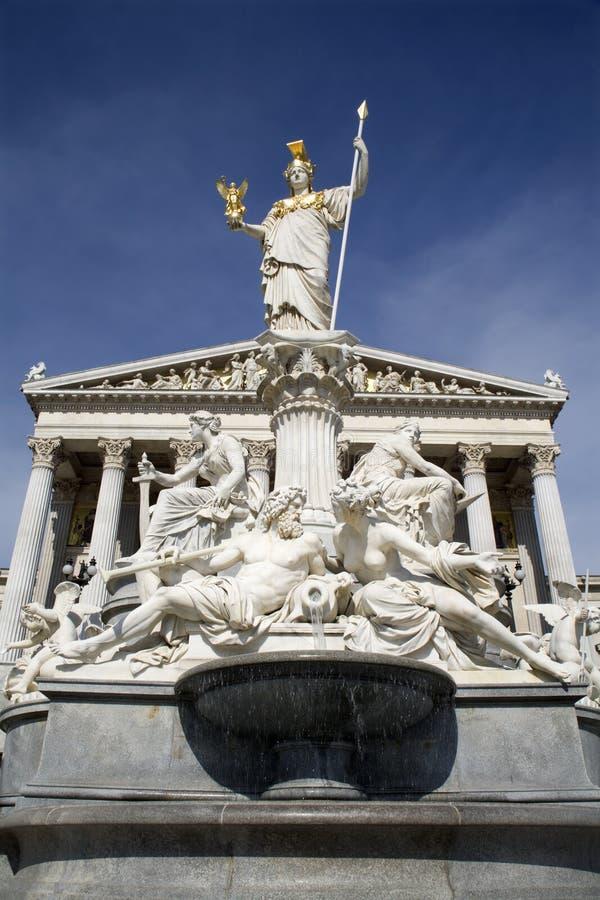 le parlement Vienne de fontaine d'Athéna images libres de droits