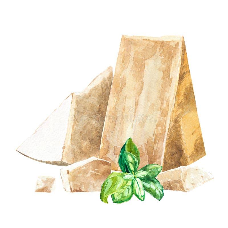Le parmesan rapièce avec des herbes de basilic d'isolement sur le fond blanc Plan rapproché de condiment classique italien de cui illustration stock