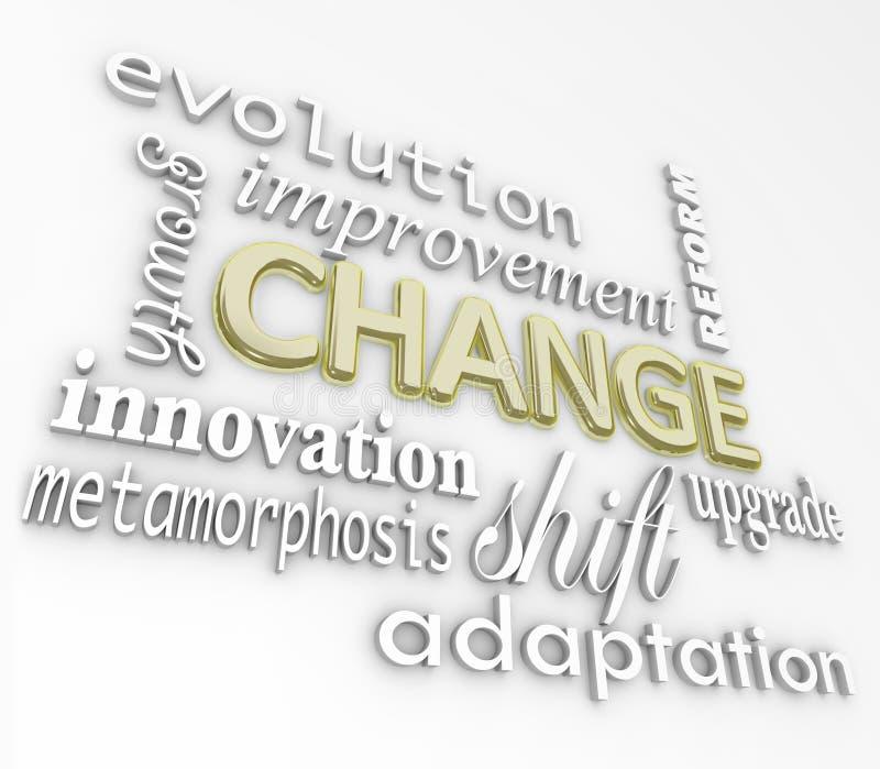 Le parole del cambiamento 3D si evolvono migliorano si sviluppano per successo illustrazione vettoriale