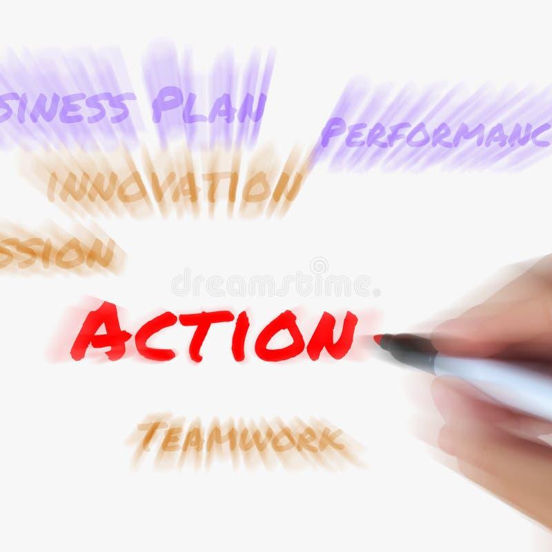 Le parole di azione sulla lavagna visualizza la missione di attività ed eseguono illustrazione di stock