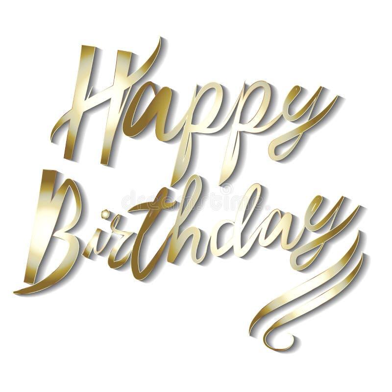 Le parole di buon compleanno nel vettore fatto a mano dell'icona di calligrafia dell'oro progettano royalty illustrazione gratis