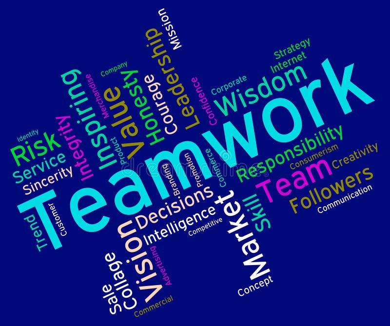 Le parole di lavoro di squadra indica l'unità Wordcloud ed il gruppo illustrazione di stock
