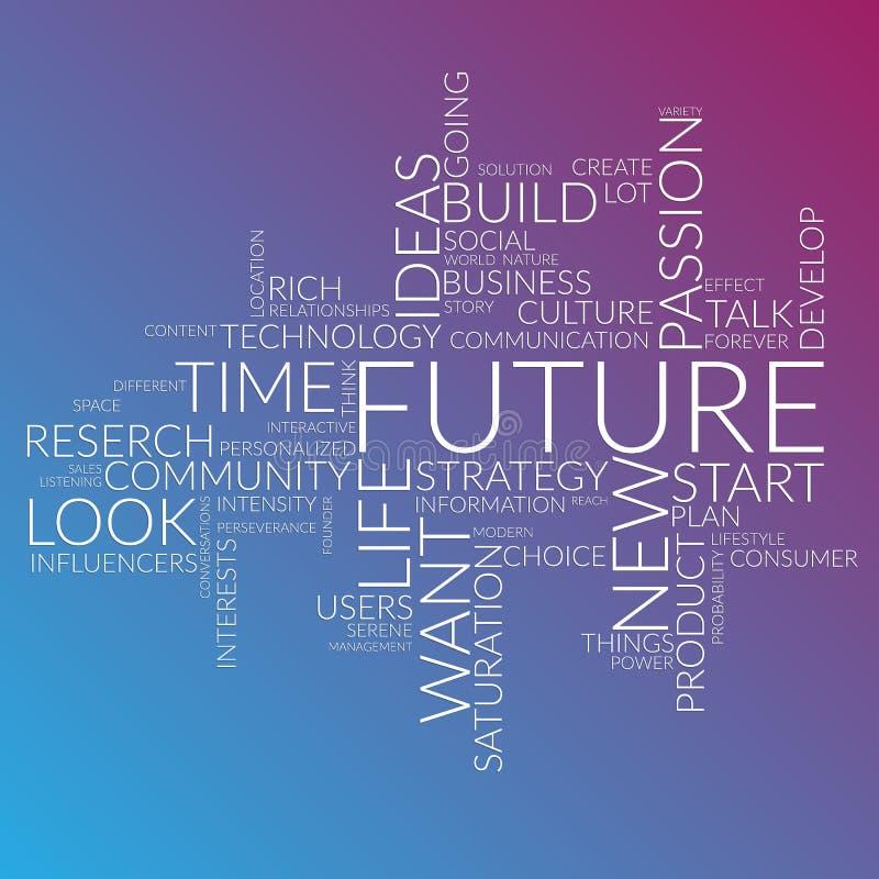 Le parole futuristiche si appannano circa tempo, il futuro, vita illustrazione vettoriale