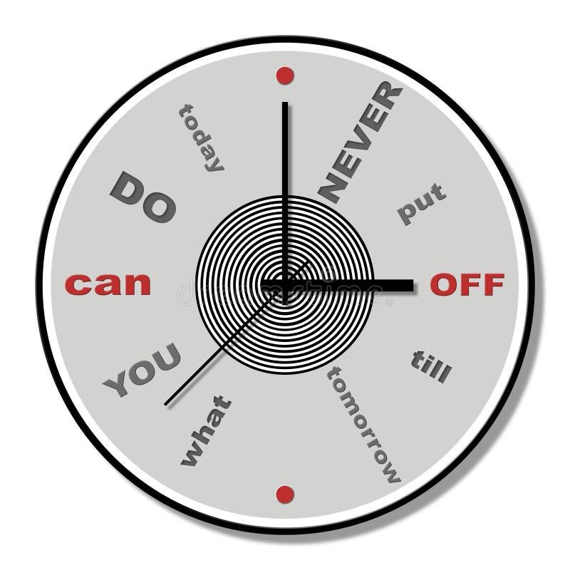 Non metta mai fuori finché domani tema dell'orologio illustrazione di stock