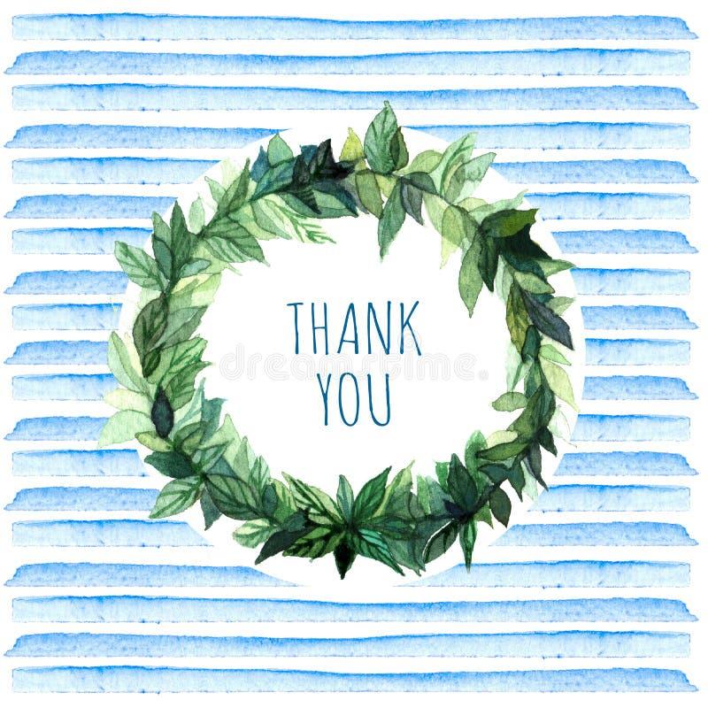 Le parole vi ringraziano in corona floreale semplice e sveglia del cerchio con le foglie dei rami della molla Illustrazione dell' illustrazione di stock