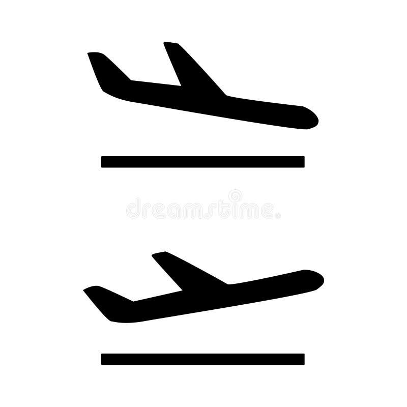 Le partenze in bianco e nero di arrivo firmano le icone royalty illustrazione gratis