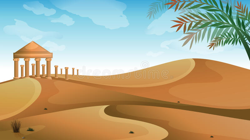 Le parthenon dans le désert illustration de vecteur