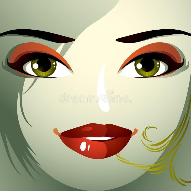 Le parti del fronte di giovane bella signora con un luminoso fanno-u illustrazione vettoriale