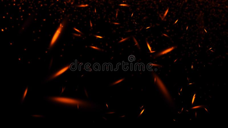 Le particelle dei tizzoni del fuoco strutturano le sovrapposizioni Bruci l'effetto su fondo nero isolato Elemento di disegno fotografia stock