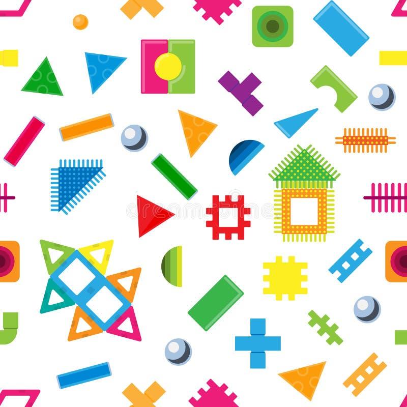 Le particelle elementari dei bambini giocano i mattoni variopinti del bambino di vettore per sviluppare o costruire la costruzion illustrazione vettoriale