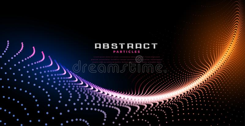 Le particelle futuristiche ondeggiano con effetto della luce blu ed arancio illustrazione di stock