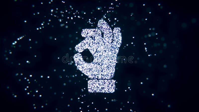 Le particelle tremule di volo astratto si trasformano in un segno della mano rappresentazione 3d illustrazione vettoriale