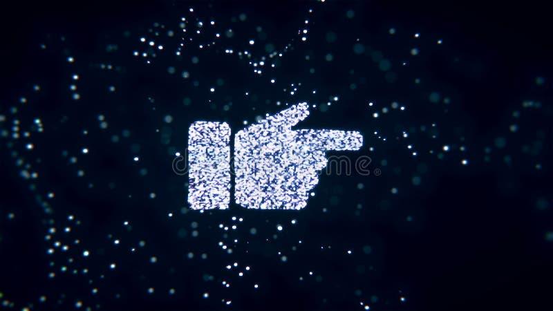 Le particelle tremule di volo astratto si trasformano in un segno della mano rappresentazione 3d royalty illustrazione gratis
