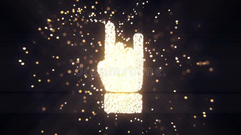 Le particelle tremule di volo astratto si trasformano in un segno della mano rappresentazione 3d illustrazione di stock