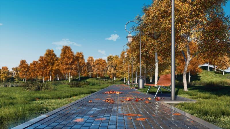 Le passage couvert avec des bancs et les arbres d'automne dans la ville se garent images stock