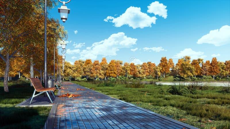 Le passage couvert et les bancs vides de trottoir en automne se garent image libre de droits