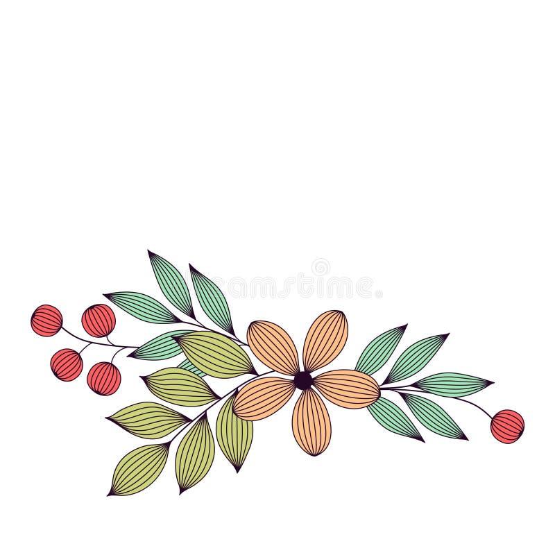Le pastel a coloré les feuilles et les fleurs élégantes avec les calibres floraux de carte de veines, vecteur illustration stock