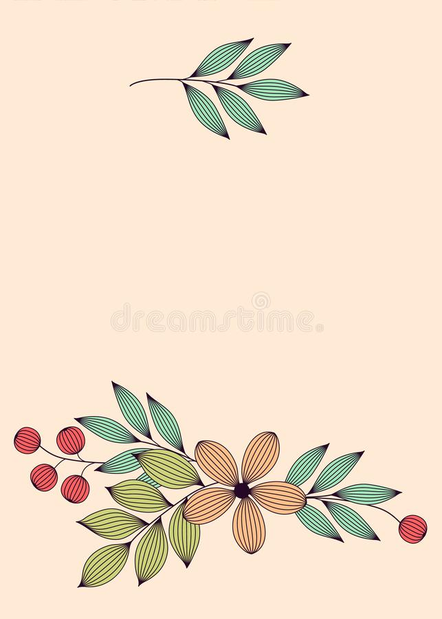 Le pastel a coloré les feuilles et les fleurs élégantes avec les calibres floraux de carte de veines, vecteur illustration libre de droits