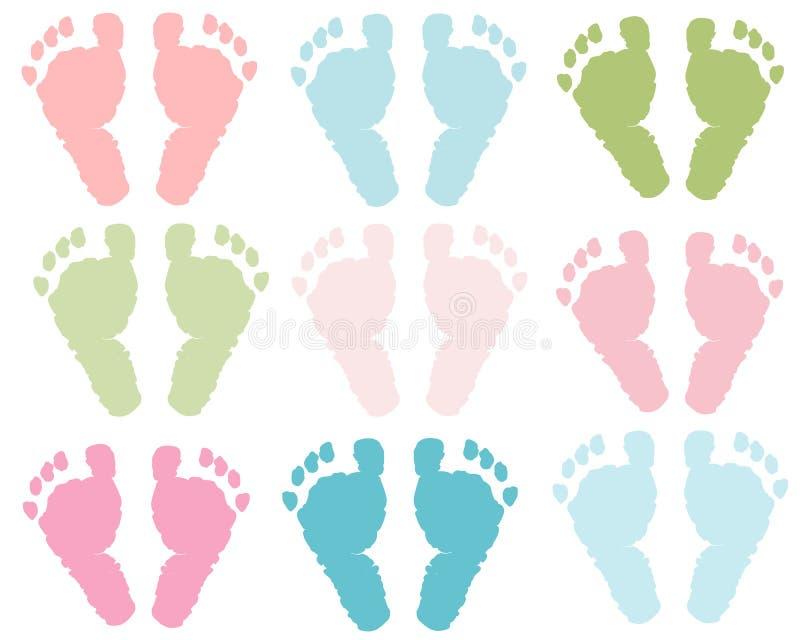 Le pastel d'impression de pied de bébé a coloré le fond d'illustration de vecteur illustration libre de droits