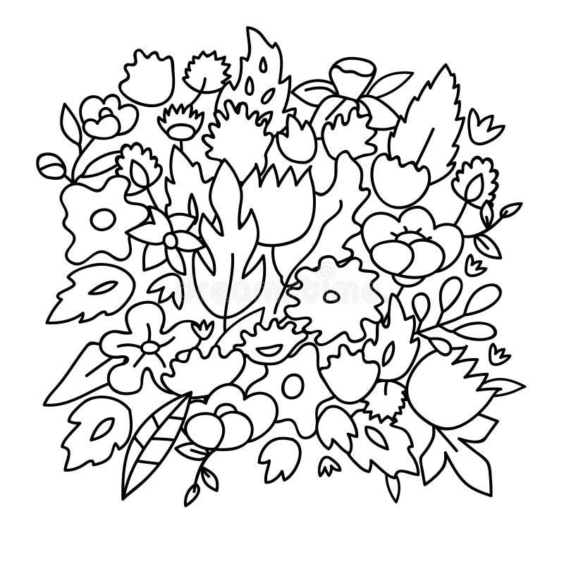 Le pastel mignon puéril a coloré des fleurs, calibre de vecteur illustration libre de droits