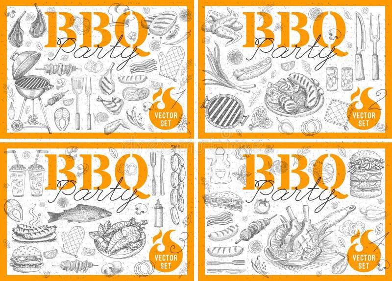 Le patate fritte arrostite rassodate del pollo delle salsiccie dell'alimento degli elementi dei manifesti della griglia del barbe illustrazione di stock