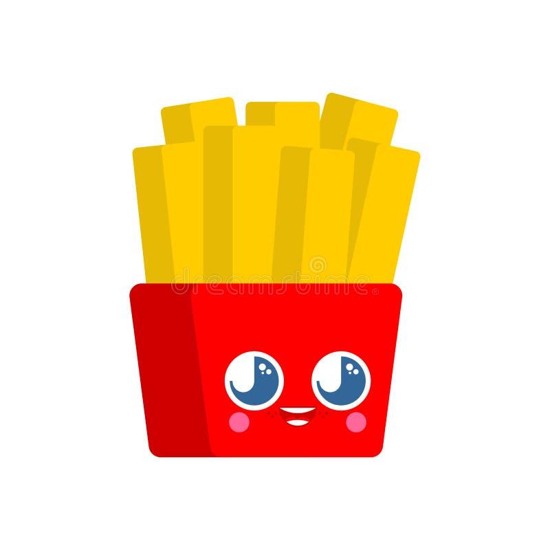 Le patate fritte sveglie di kawaii hanno isolato stile divertente del fumetto di pasto rapido carattere dei bambini Lo stile dei  royalty illustrazione gratis